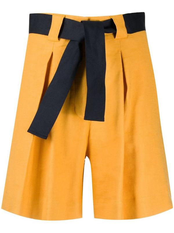 Eleventy belted bermuda shorts in yellow