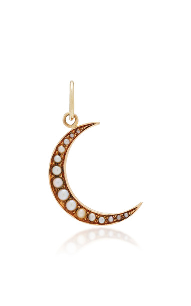VELA Antique 14K Gold Pearl Pendant in white