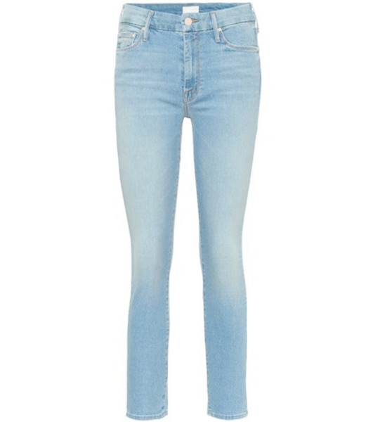 Mother The Looker cropped skinny jeans in blue