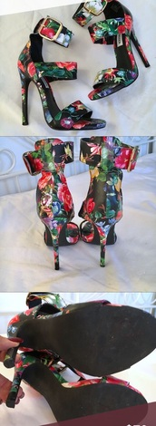 shoes,floral,multi,steve madden,platform shoes,stilettos,straps,strap sandal,floral sandal,sexy,sexy 4 inch,multicolor,pointed toe pumps,no platform,5 inch and up,4 inch heel,4 inch heels