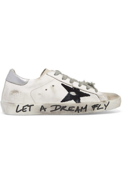 Golden Goose - Superstar Distressed Printed Leather Sneakers - White