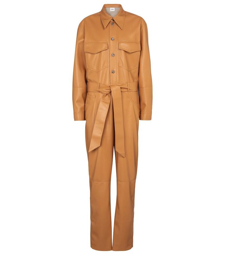 Nanushka Ashton faux leather jumpsuit in brown