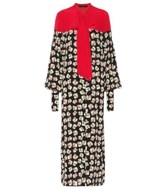 Rokh Floral-printed silk dress