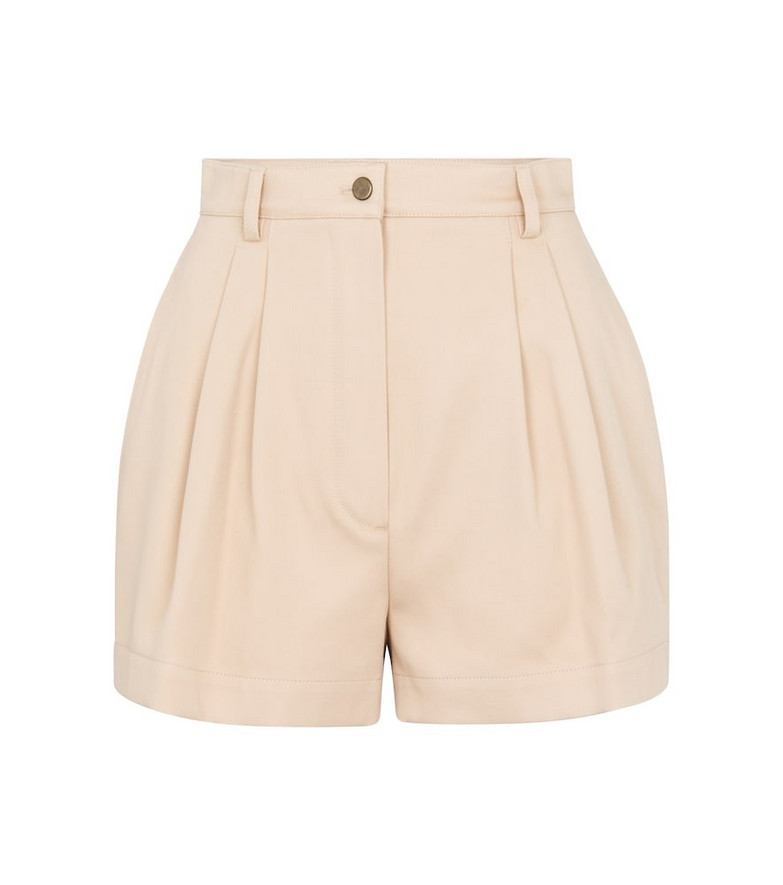 Alaïa High-rise cotton gabardine shorts in beige