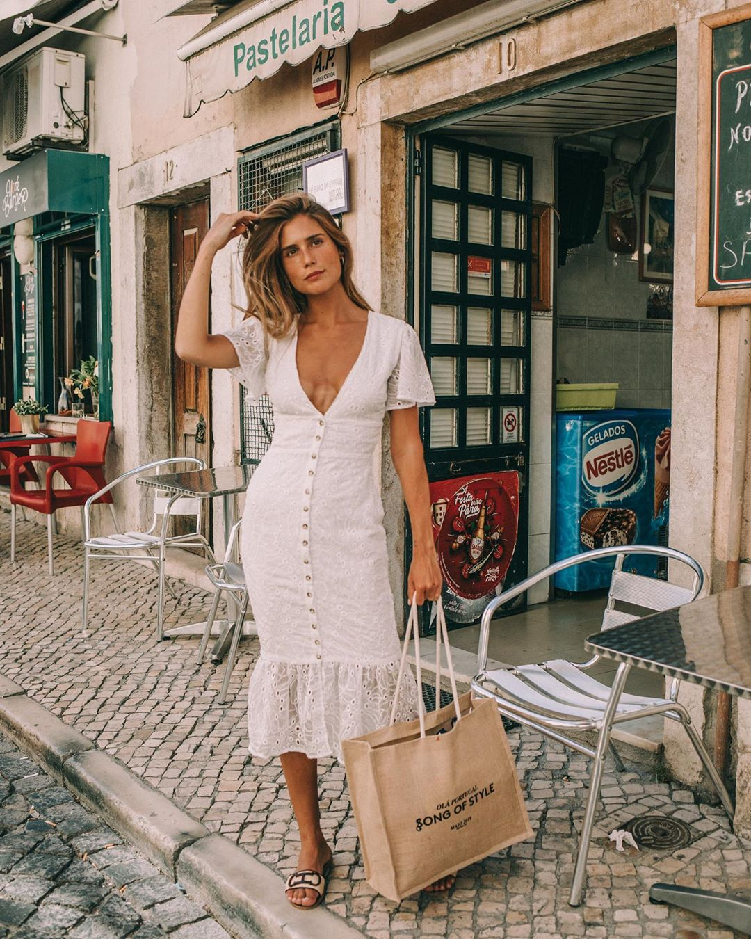 dress white dress lace dress short sleeve dress slide shoes shoulder bag