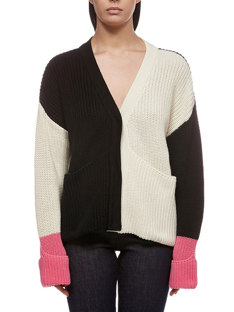 Valentine Witmeur Lab Oversized Knitted Cardigan in nero / beige