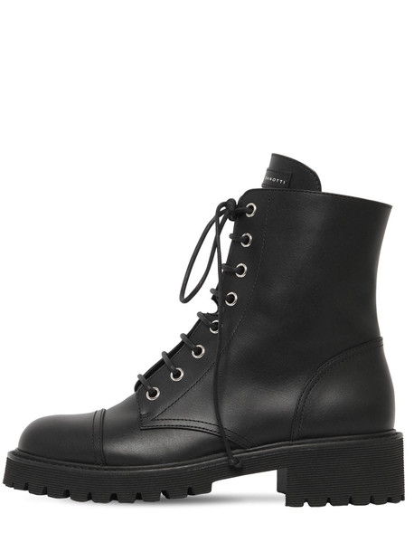 GIUSEPPE ZANOTTI DESIGN 25mm Leather Combat Boots in black