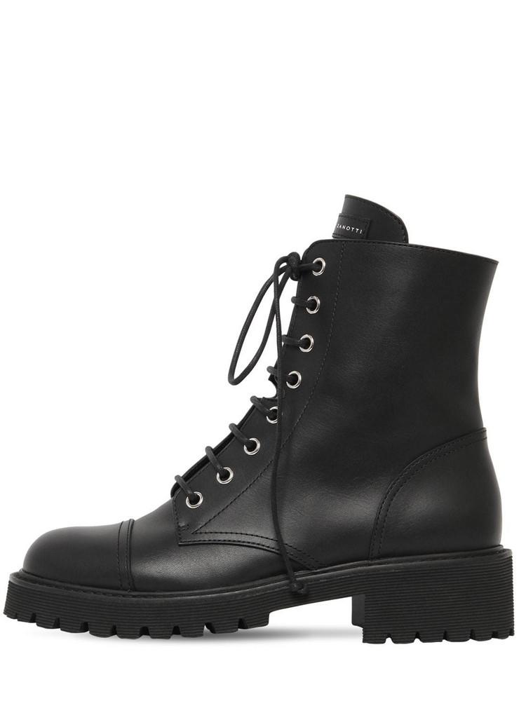GIUSEPPE ZANOTTI DESIGN 25mm Leather Combat Boots in black