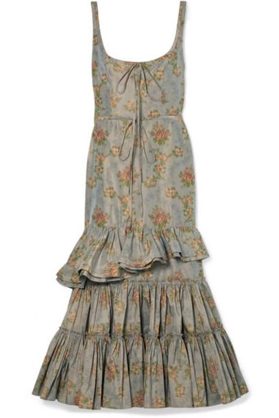 Brock Collection - Onilde Tiered Floral-print Cotton-blend Poplin Maxi Dress - Gray green