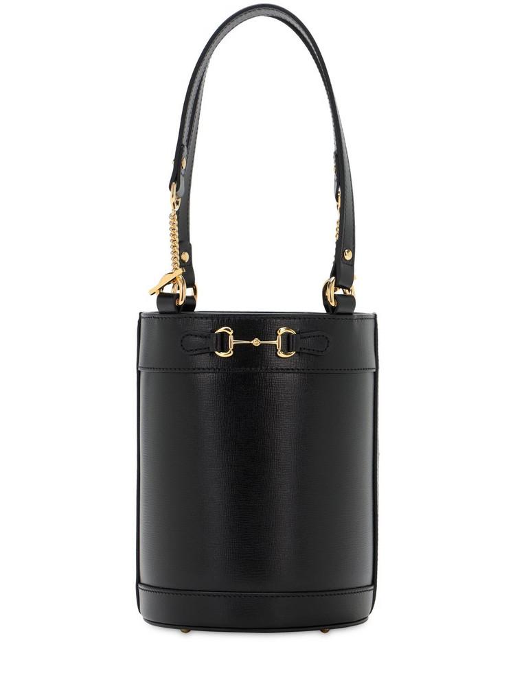 GUCCI 1955 Horsebit Small Leather Bucket Bag in black