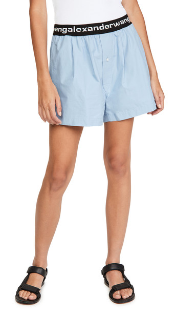 alexanderwang.t Pull-On Pleated Shorts with Logo Elastic in blue