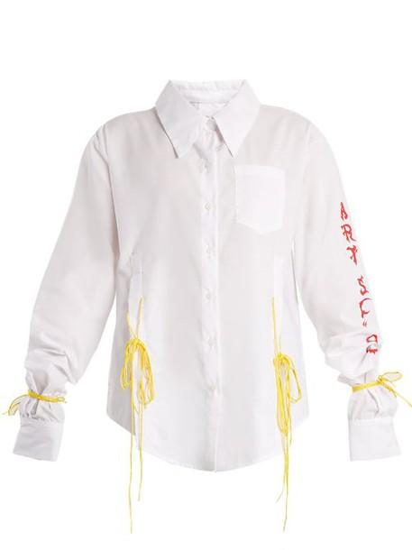 Art School - Acid Oversized Tie Side Cotton Shirt - Womens - White Multi