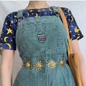 top,belt,sun,dress,romper,vintage,moon,grunge,cool,cute,gold,floral romper,turquoise,moon and sun,90s grunge,waist belt,jutebeutel