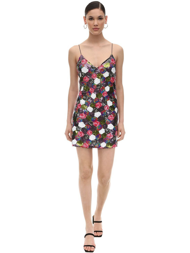 ROTATE Sequined Mini Dress in black / pink / white