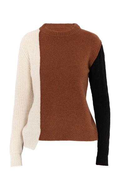 Marni Asymmetric Colorblock Cashmere-Wool Sweater in multi