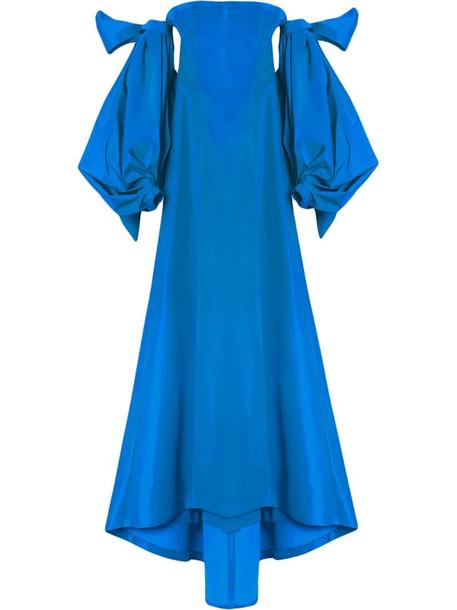 Carolina Herrera drape-detail silk gown in blue