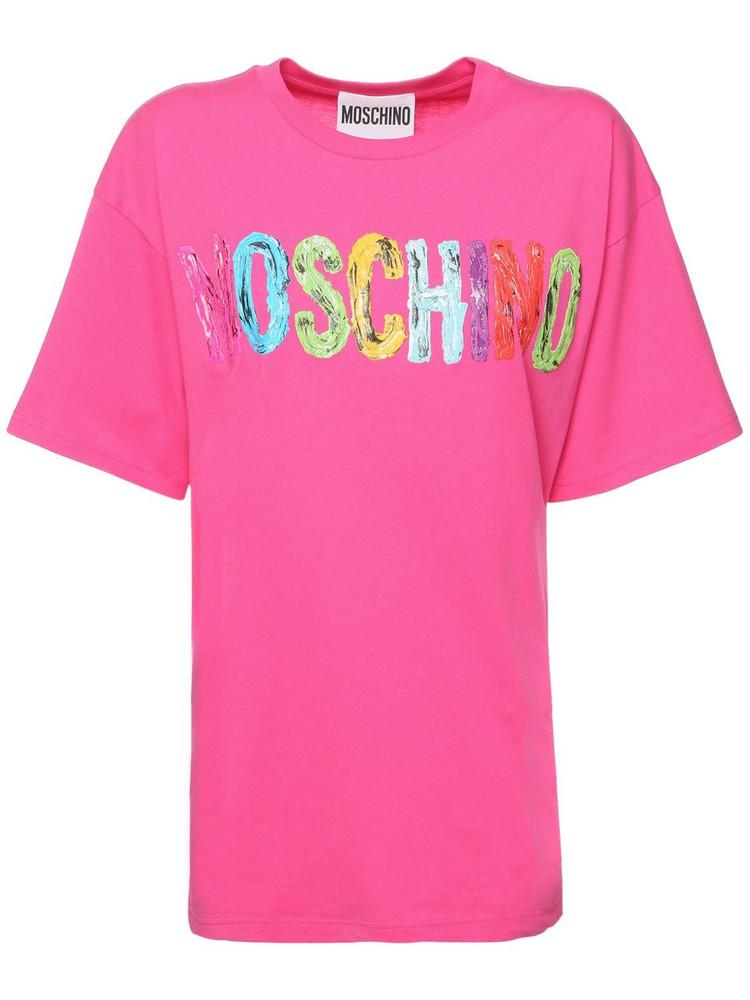 MOSCHINO Cotton Jersey  T-shirt in fuchsia / multi