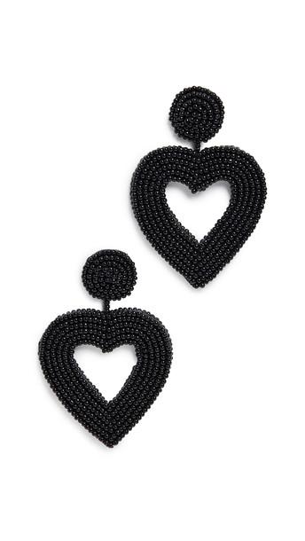 BaubleBar Beaded Heart Drop Earrings in black / gold