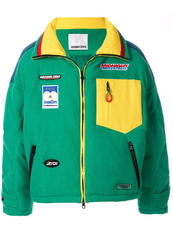 Ground Zero logo patch zip-front oversized jacket in green