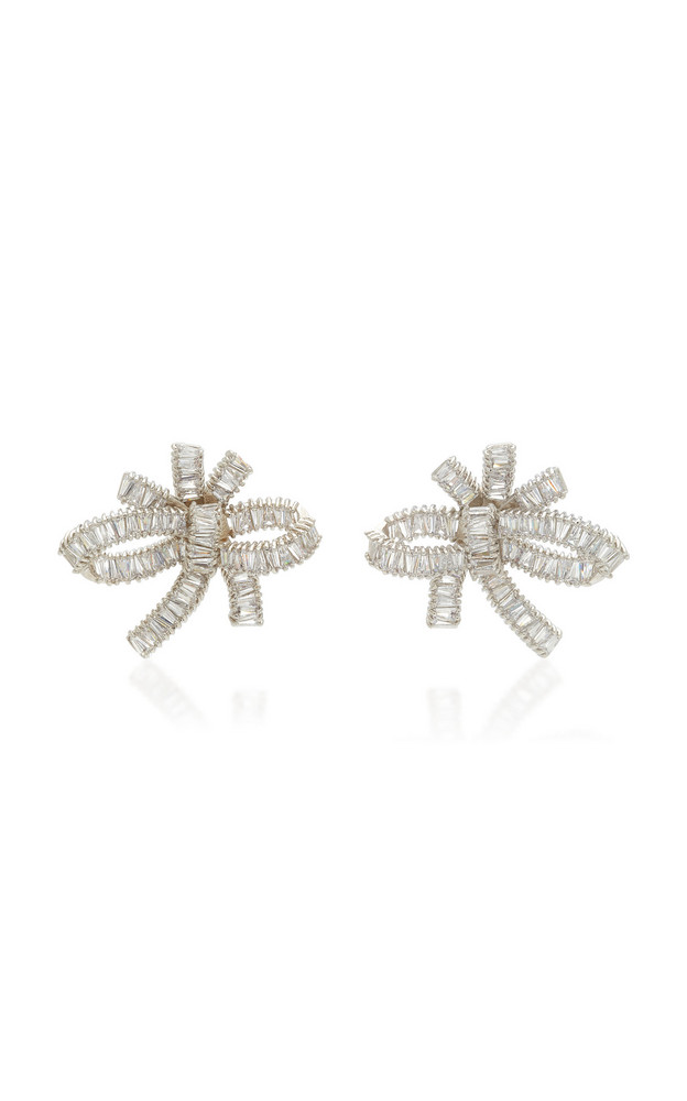 FALLON Bow Cluster Baguette Stud Earrings in white