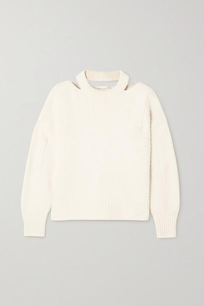 ALEXANDER MCQUEEN - Cutout Wool-blend Sweater - Ivory