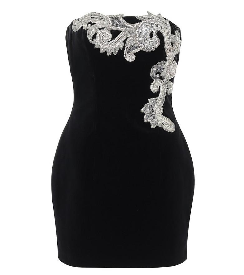 Balmain Embellished velvet minidress in black