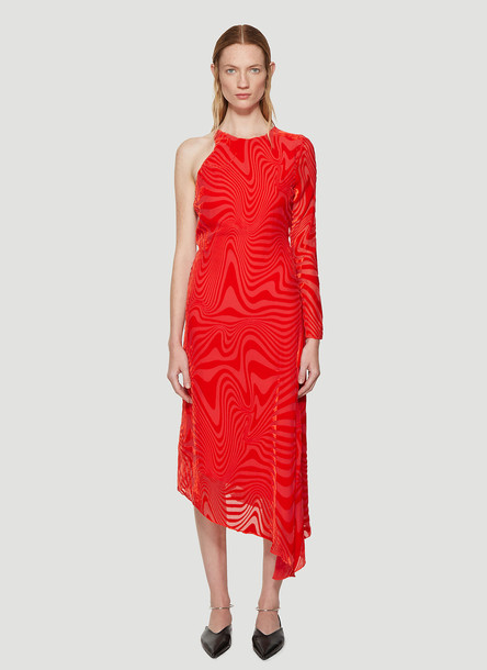 Marine Serre Asymmetric Devoré Dress in Red size M