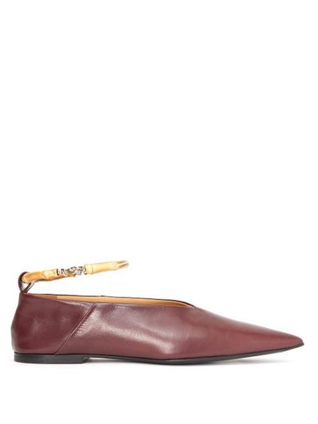 Jil Sander - Bamboo-anklet Leather Flats - Womens - Burgundy