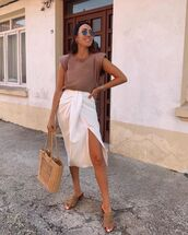 skirt,white skirt,wrap skirt,sandal heels,woven bag,tank top