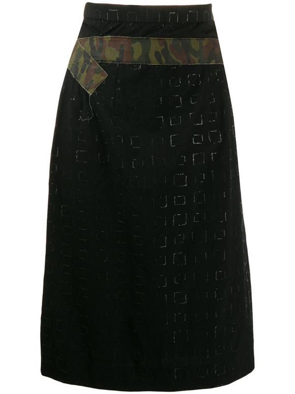 Comme Des Garçons Pre-Owned 2000's embossed squared belted skirt in black