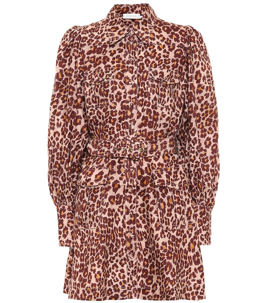 Zimmermann Leopard-print linen dress in pink