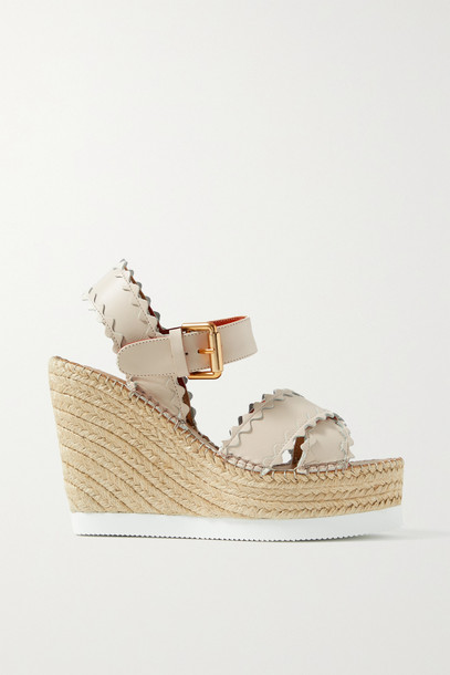 SEE BY CHLOÉ SEE BY CHLOÉ - Glynn Scalloped Leather Espadrille Wedge Sandals - Cream