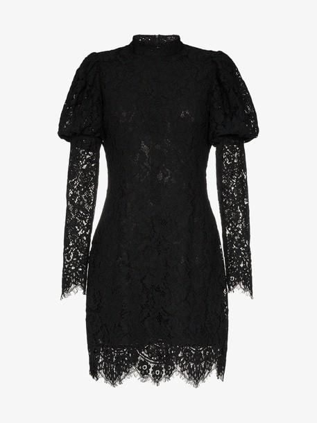 Ganni Everdale puff sleeve lace cotton blend mini dress in black