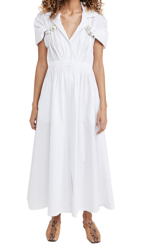 By any Other Name Shirred Waist Tea Dress in white