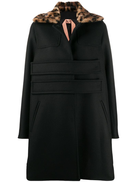 Nº21 contrasting collar A-line coat in black