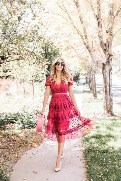 ivory lane blogger dress shoes bag sunglasses pink bag high heel pumps red dress fall outfits