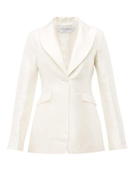 Gabriela Hearst - Serge Single Breasted Silk Blend Satin Blazer - Womens - Ivory