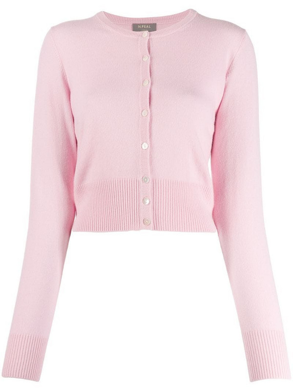 N.Peal cashmere cropped cardigan in pink