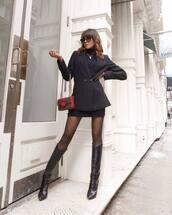 jacket,black blazer,double breasted,knee high boots,tights,mini skirt,black skirt,fendi,bag,black turtleneck top