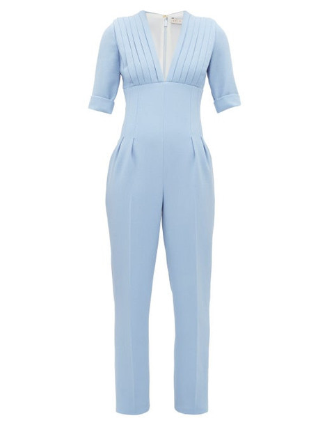 Emilia Wickstead - Bella Pleated Bodice Wool Crepe Jumpsuit - Womens - Light Blue