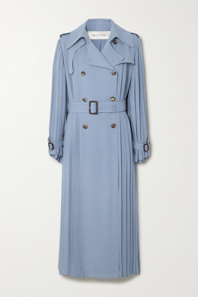 Valentino - Pleated Silk-crepe Trench Coat - Blue