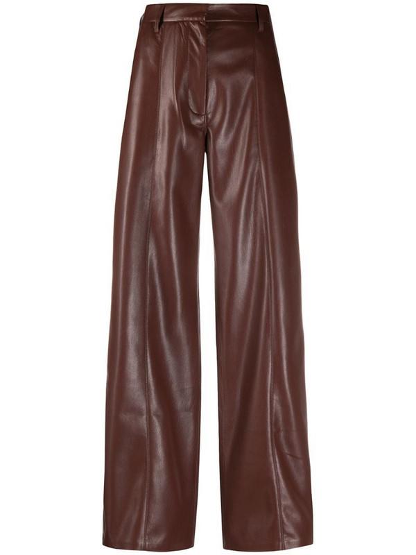 Nanushka Cleo faux leather trousers in brown