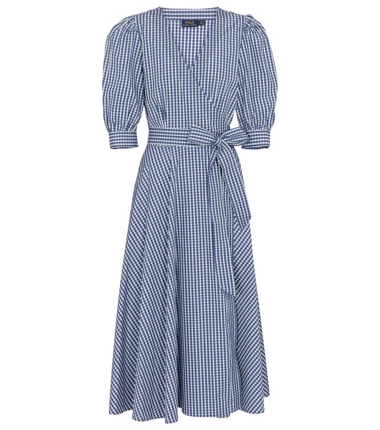 Polo Ralph Lauren Gingham cotton midi wrap dress in blue