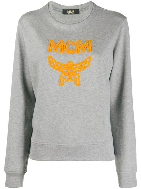 MCM logo print cotton sweatshirt in grey