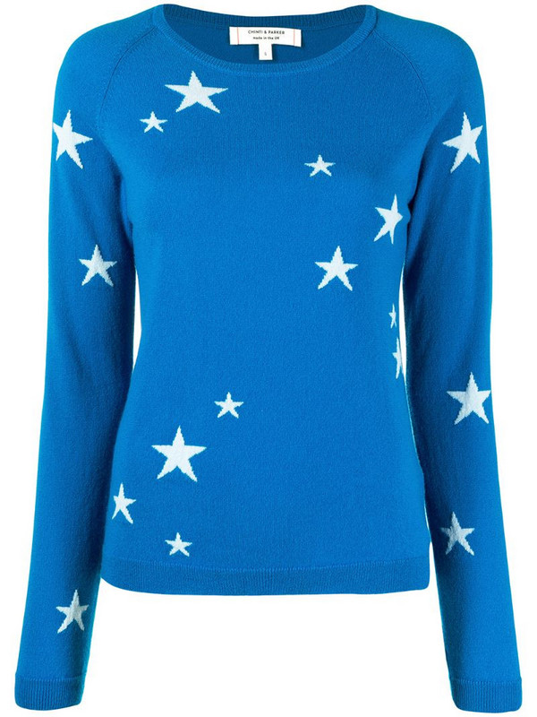 Chinti and Parker star intarsia cashmere jumper in blue