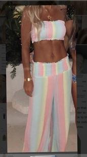 pants,rainbow pants set,rainbow,palazzo pants,set,two-piece