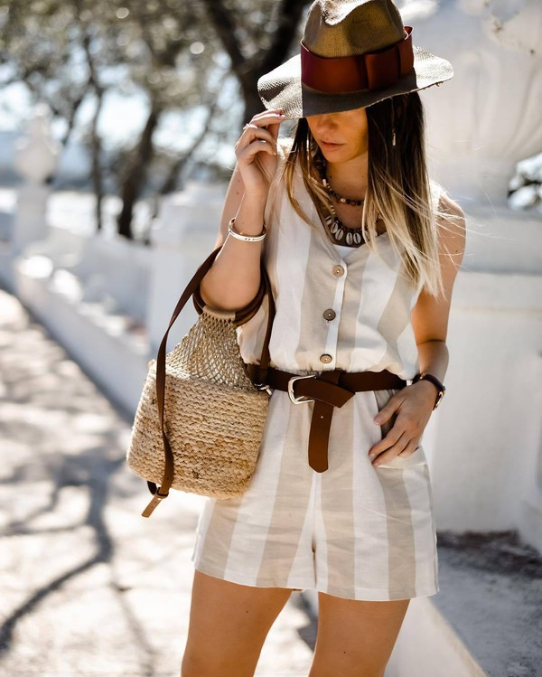 romper sleeveless belt handbag hat necklace summer outfits