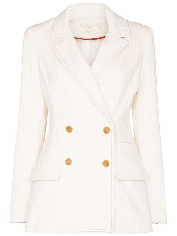 By Any Other Name Lady double-breasted corduroy blazer in white