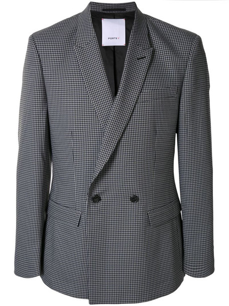 Ports V pied-de-poule double-breasted blazer in grey