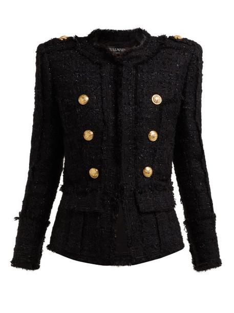 Balmain - Double Breasted Tweed Jacket - Womens - Black